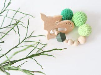 Greifring / Beißring - Rehkitz grün